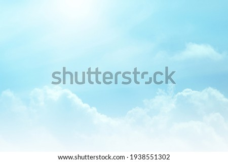 Blue sky with white cloud. The summer heaven is colorful clearing day Good weather and beautiful nature in the morning. Royalty-Free Stock Photo #1938551302