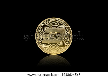 Isolated with clipping path, the golden DASH Coin symbol close up. DASH coin is one of the digital currency - cryptocurrency driven by blockchain technology. Royalty-Free Stock Photo #1938624568