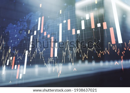 Abstract creative financial graph and world map on blurry contemporary office building background, financial and trading concept. Multiexposure Royalty-Free Stock Photo #1938637021