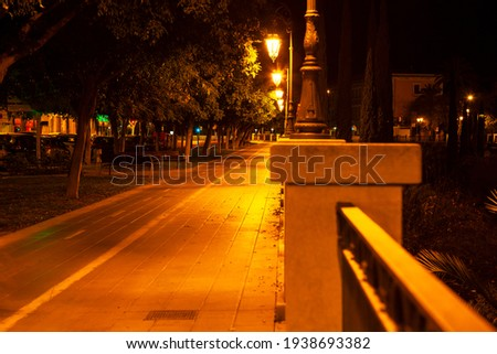 Alley with pavement in the night illumination . Nighttime promenade  Royalty-Free Stock Photo #1938693382