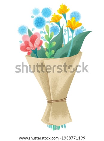 Clipart watercolor bouquet of wildflowers. Gartensia, lilac, hibiscus. Boho vintage style. Cute illustration in cartoon childish style. The image is isolated on a white background.
