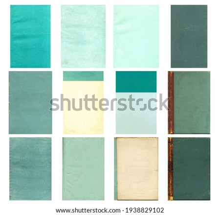 Paper and textile textures set. Blank retro pages and old book covers. Rough faded canvas surface. Perfect for background and vintage style design. Empty place for text. Royalty-Free Stock Photo #1938829102