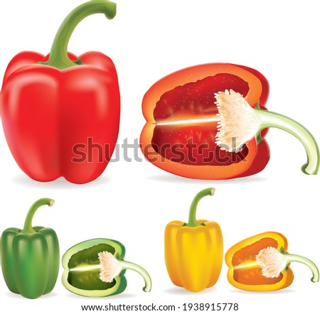 Set of three peppers. Yellow, red and green pepper. Vector illustration.set of three peppers. Sliced pepper. Vector illustration  Royalty-Free Stock Photo #1938915778