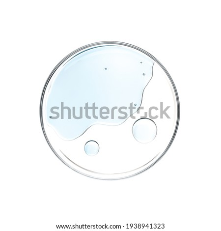 Blue liquid in petri dish over white background - flat lay Royalty-Free Stock Photo #1938941323