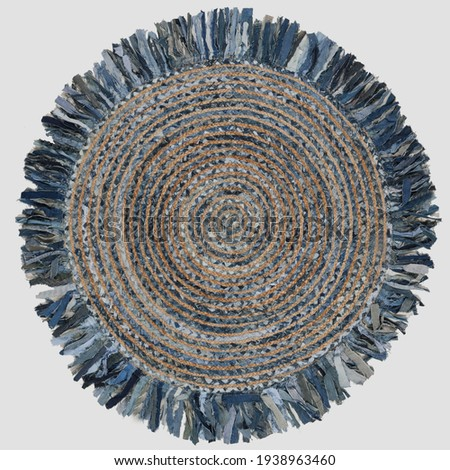Handmade Braided Natural Fiber Jute and Denim Area Rug. Royalty-Free Stock Photo #1938963460