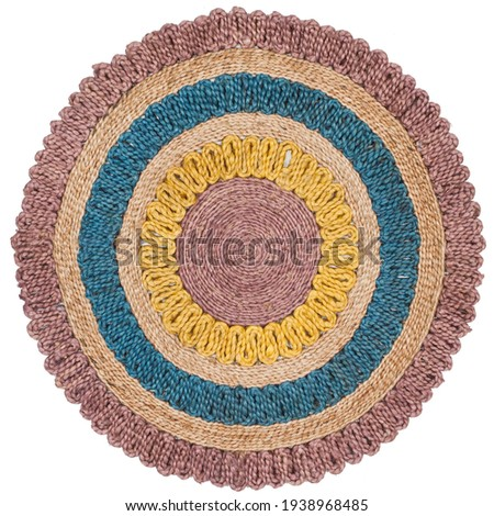 Handmade Braided Natural Fiber Jute Multi Area Rug. Royalty-Free Stock Photo #1938968485