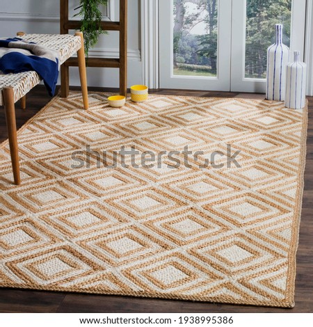 Handmade Jute and multi area Rug. Royalty-Free Stock Photo #1938995386
