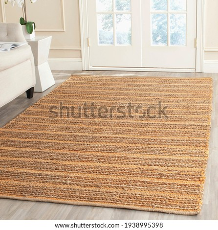 Handmade Jute and multi area Rug. Royalty-Free Stock Photo #1938995398