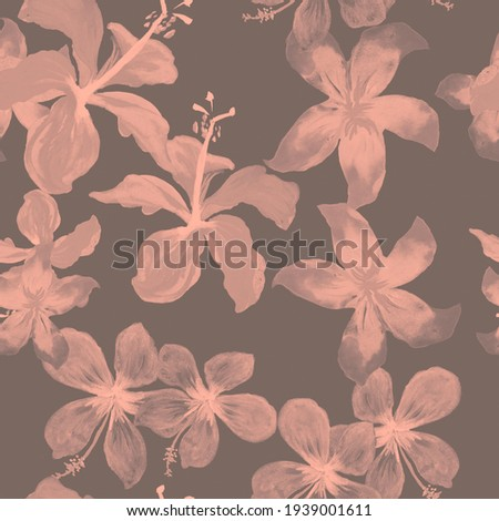 Black Seamless Palm. Coral Pattern Nature. Gray Tropical Nature. Pink Spring Art. Floral Vintage. Drawing Textile. Flora Palm. Wallpaper Exotic.