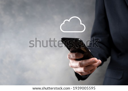 Business woman holding icon cloud computing network and icon connection data information in hand. Cloud computing and technology concept