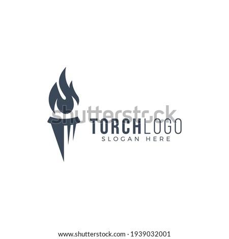 creative torch logo design vector illustration