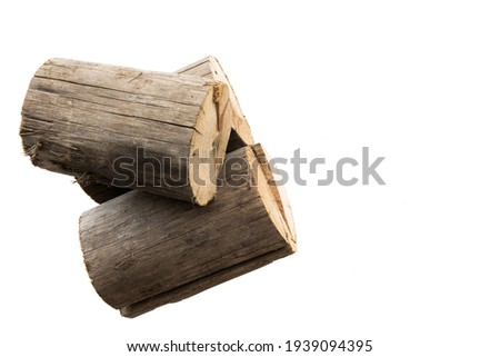 Natural timber wood log and trunk, stump and plank. Illustration of Wooden firewood construction materials isolated on white background.