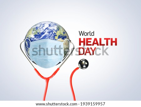 World Health Day Concept Background. Stethoscope on world globe on white background. Save the wold, Global health care and Coronavirus concept. World Day for Safety and health Royalty-Free Stock Photo #1939159957