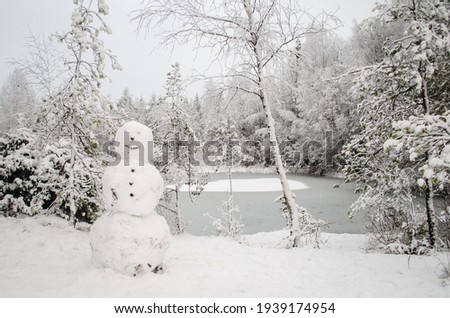 Snowy trees, snowman and frozen pond in winter Royalty-Free Stock Photo #1939174954