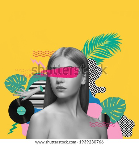 Beautiful young girl posing on abstacrt floral background. Art collage.