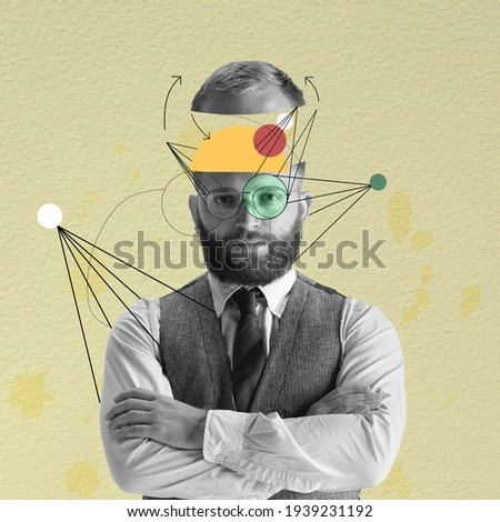Contemporary art collage. Young business man looking at camera.