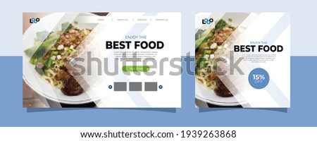 Culinary Food Landing Page Website and Social Media Post Template With Minimalist and Elegant Style. Clean. Modern. Sale. Ads Banner. Cover. Flyer. Feed. Card. Design. Facebook. Instagram. Youtube. Royalty-Free Stock Photo #1939263868