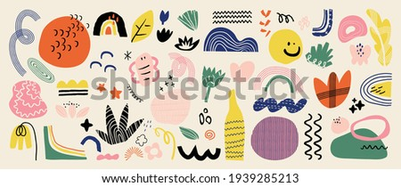 Abstract art background vector. Creative Hand drawn various shapes and doodle object elements for kids and school cover, abstract wall art for home decor,earth tone wallpaper,prints and pattern design Royalty-Free Stock Photo #1939285213