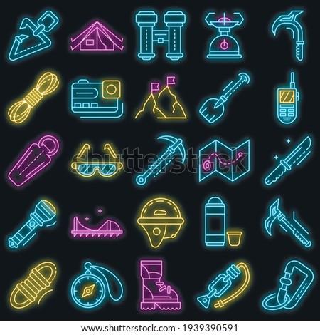 Mountaineering equipment icon set. Outline set of mountaineering equipment vector icons neon color on black