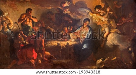 VENICE, ITALY - MARCH 12, 2014: The Adoration of shepherds by Antonio Vassilacchi nickname l'Aliense (1556 - 1629) from Chiesa di San Zaccaria church. #193943318