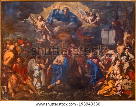 BOLOGNA, ITALY - MARCH 17, 2014: The Baptism of Christ by Elisabetta Sirani from year 1658 in baroque church San Girolamo della certosa. #193943330
