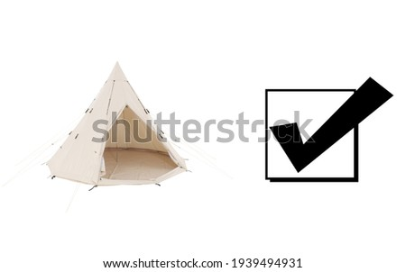 Bell Dome Tent Isolated on White Background. Side and Front View of Beige Dome Tent. Cream Canvas Camping Tent. Alpine Tent. Camping Equipment Royalty-Free Stock Photo #1939494931