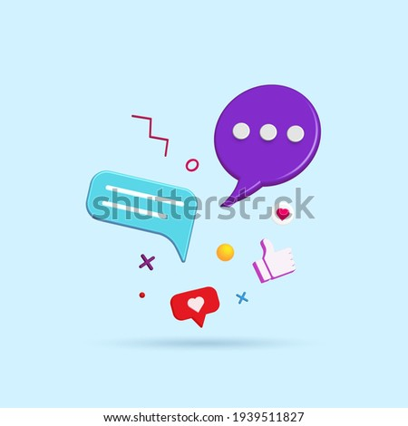 Abstract social media and technology with modern trendy color icons 3d vector illustration. Royalty-Free Stock Photo #1939511827