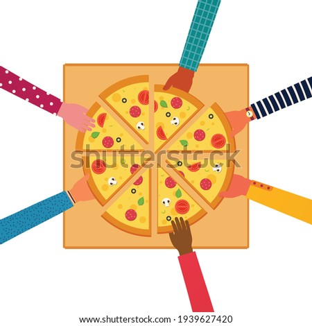 People eating together a huge pizza, top view. Pizza with tomatoes, cheese, mushrooms, olives, sausage, basil.