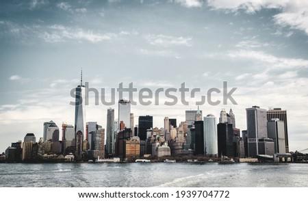 Manhattan skyline from hudson river Royalty-Free Stock Photo #1939704772