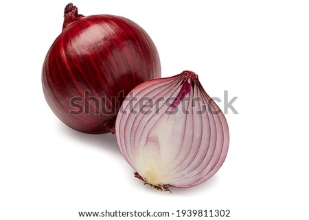 The most beautiful red sliced onion isolated on white background. And one onion have cut and other have bulb. Royalty-Free Stock Photo #1939811302