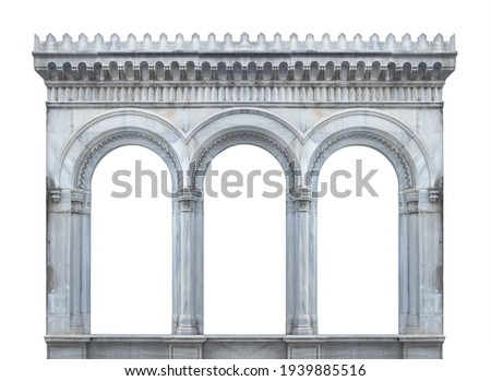 On the streets in Istanbul, public places. Elements of architectural decorations of buildings, doorways and arches, plaster moldings, plaster patterns.  Royalty-Free Stock Photo #1939885516