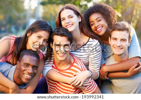 Outdoor Portrait Of Young Friends Having Fun In Park #193992341