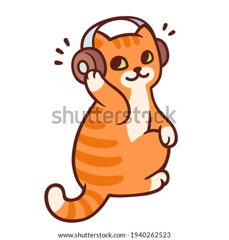 Cartoon ginger cat with headphones listening to music. Cute music fan kitty drawing, clip art illustration.
