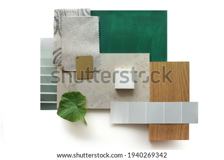 Top view moodboard. Material samples. Green, stone, wood.          Royalty-Free Stock Photo #1940269342