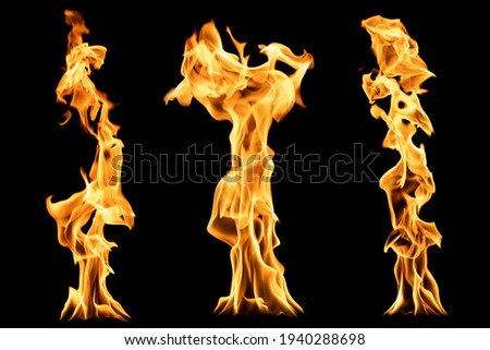 Set of flame columns. Isolated on black. Flames of fire. Bright orange column of fire. Royalty-Free Stock Photo #1940288698