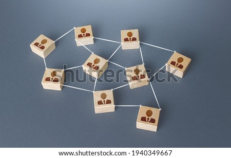 Network of connected people. Interaction between employees and community members. Information exchange relations. Unity cooperation. Social communication. Distribution responsibilities between workers Royalty-Free Stock Photo #1940349667