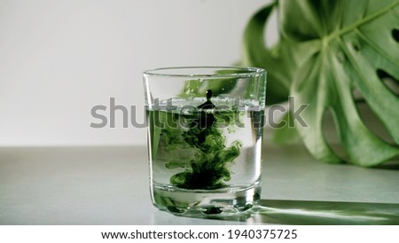 Chlorophyll extract is poured in pure water in glass against a white grey background with green leaf. Liquid chlorophyll in a glass of water. Concept of superfood, healthy eating, detox and diet Royalty-Free Stock Photo #1940375725