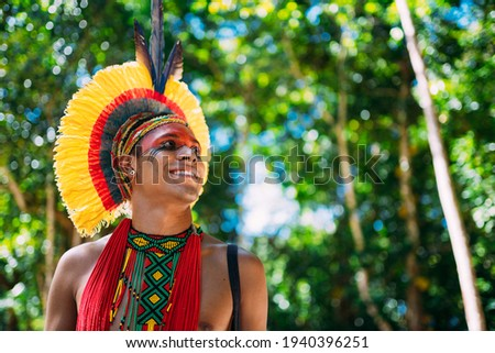 Indian from the Pataxó tribe with feather headdress looking to the right. Indigenous from Brazil with traditional facial paintings. Royalty-Free Stock Photo #1940396251