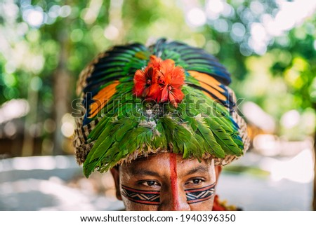 traditional feather headdress of the Pataxó tribe. headdress focus Royalty-Free Stock Photo #1940396350