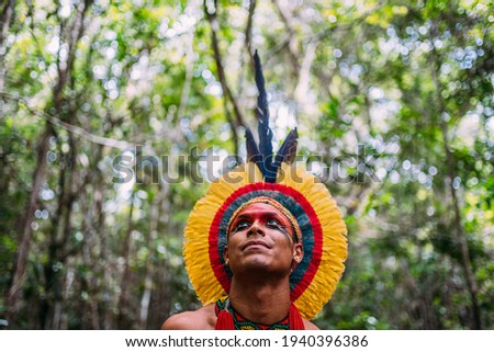 Indian from the Pataxó tribe, with feather headdress. Young Brazilian Indian looking to the left. focus on face Royalty-Free Stock Photo #1940396386
