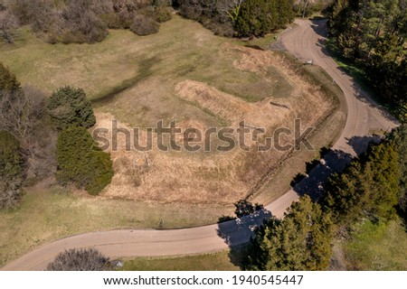 Aerial view of Fort Hoke earthworks in Richmond Virginia part of the  defense line that protected the confederate city from the union forces, part of the civil war battlefield trail Royalty-Free Stock Photo #1940545447