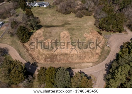 Aerial view of Fort Hoke earthworks in Richmond Virginia part of the  defense line that protected the confederate city from the union forces, part of the civil war battlefield trail Royalty-Free Stock Photo #1940545450