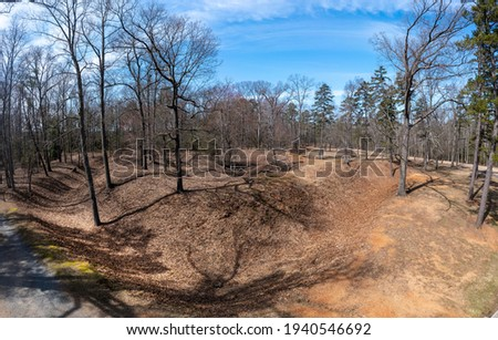 Aerial perspective view of Fort Johnson earthworks  Richmond Virginia defense line  protected the confederate city from the union forces, civil war battlefield trail, ditch Royalty-Free Stock Photo #1940546692