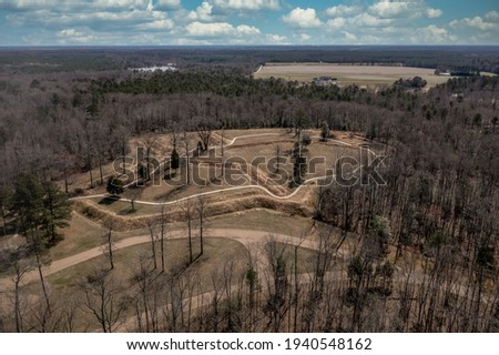 Aerial perspective view of Fort Harrison earthworks  Richmond Virginia defense line  protected the confederate city from the union forces, civil war battlefield trail Royalty-Free Stock Photo #1940548162