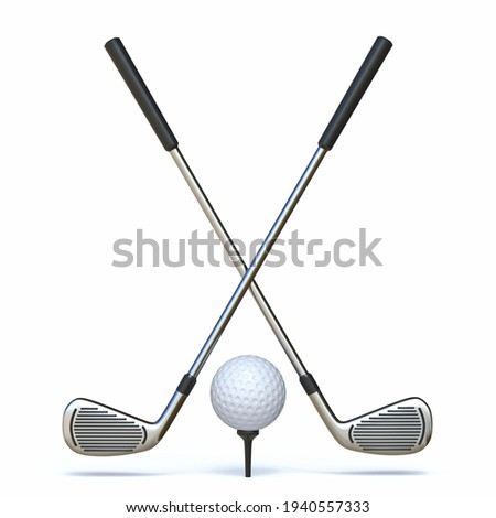 Golf ball with crossed golf clubs 3D render illustration isolated on white background