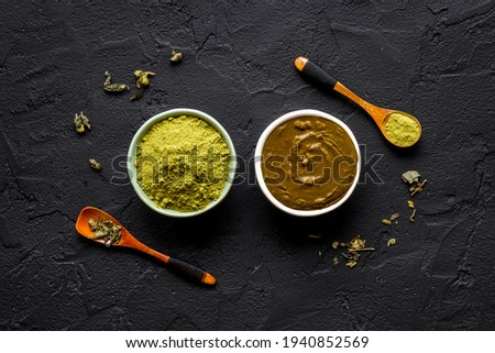 Herbal henna or mehandi powder for hair coloring or tattoo