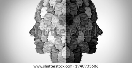 Divided culture and social group divisions or cultural war between ideology and racism or conservative and liberal political clash of ideas and community psychology in a 3D illustration style. Royalty-Free Stock Photo #1940933686