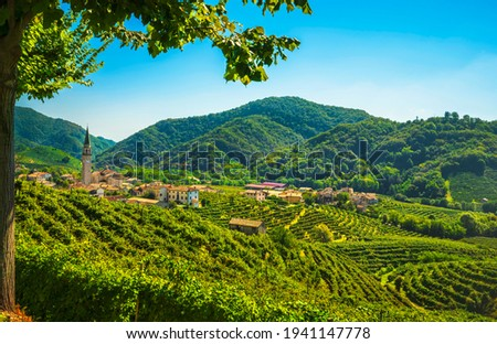 Prosecco Hills, vineyards and Guia village. Unesco Site. Valdobbiadene, Treviso, Veneto, Italy, Europe. Royalty-Free Stock Photo #1941147778
