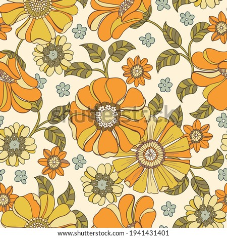 Colorful Large Scale Hand-Drawn Floral Vector Seamless Pattern. Retro 70s Style Nostalgic Fashion Textile Bold Background. Summer Resort Print. Daisies. Flower Power Royalty-Free Stock Photo #1941431401