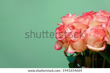 A huge bouquet of white and pink roses on aqumarine paper textured background.  Happy Birthday, Happy Mother's Day, Wedding Day, Valentine's Day, International Women Day greeting card.